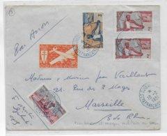 COTE DES SOMALIS - 1951 - ENVELOPPE Par AVION De DJIBOUTI CACHET De VAGUEMESTRE AU DOS => MARSEILLE - Lettres & Documents