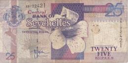 BILLETE DE SEYCHELLES DE 25 RUPEES DEL AÑO 1998  (BANKNOTE) FLOR-FLOWER - Seychelles