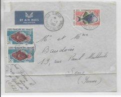 COTE DES SOMALIS - 1960 - ENVELOPPE Par AVION De DJIBOUTI  => SENS - Côte Française Des Somalis (1894-1967)