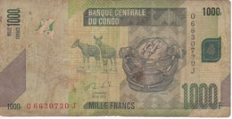 BILLETE DE EL CONGO DE 1000 FRANCOS DEL AÑO 2013 (BANKNOTE) LORO-PARROT - República Democrática Del Congo & Zaire