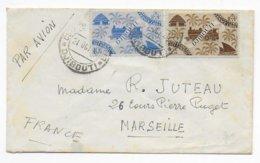 COTE DES SOMALIS - 1948 - ENVELOPPE PETIT FORMAT Par AVION De DJIBOUTI  => MARSEILLE - Côte Française Des Somalis (1894-1967)