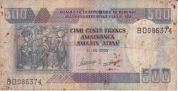 BILLETE DE BURUNDI DE 500 FRANCS DEL AÑO 2009 (BANKNOTE) - Burundi