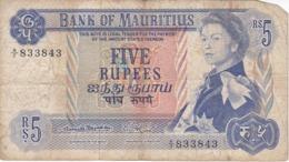 BILLETE DE MAURITIUS DE 5 RUPIAS DEL AÑO 1967  (BANKNOTE) - Mauricio