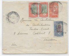 COTE DES SOMALIS - 1937 - ENVELOPPE De DJIBOUTI  => TOULON - Côte Française Des Somalis (1894-1967)