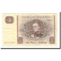 Billet, Suède, 5 Kronor, 1963, 1963, KM:50b, TB - Suède