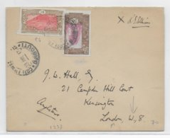 COTE DES SOMALIS - 1937 - ENVELOPPE De DJIBOUTI  => LONDON ! - Côte Française Des Somalis (1894-1967)