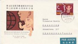 Japan 1965, FDC Verzonden Naar Tsjechoslowakije Met Bijfrankering Op Achterzijde Ivm Tarief, Kindergeneeskunde - Médecine