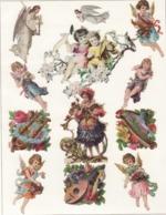 Découpis   Lot De 12    Anges, Harpe, Musique       11.5 X 8 Cm Le Plus Grand - Découpis