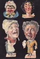 Découpis   Lot De 4    Caricatures       17.5 X 8 Cm Le Plus Grand - Découpis