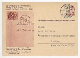"""Schweiz Suisse 1947: Bild-PK  POSTMUSEUM -CPI MUSÉE POSTALE """"Waadt 4 (1849)"""" Mit Stempel SINS 12.III.47 Nach Zürich - Interi Postali"""