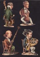 Découpis   Lot De 4    Musique, Musiciens       13.5 X 9 Cm Le Plus Grand - Découpis