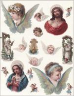 Découpis   Lot De 17    Anges, Religion       11 X 8.5 Cm Le Plus Grand - Découpis