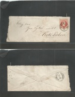CZECHOSLOVAKIA. 1875 (24 Sept) Pribram - Ceske Trelove (Truban) Fkd Env. 5 Kr Red Fine Print, Cd. - Czechoslovakia