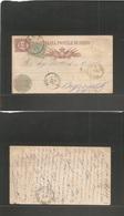 ITALY - Stationery. 1878 (1 Aug) Pisa - Beyrouth, Lebanon (20 Aug) Via Alexandrie, Egypt (15 Aug) 10c Red Stat Card + 5c - Italy