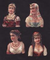 Découpis   Lot De 4    Femmes       8 X 6 Cm Le Plus Grand - Découpis