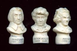 """FEVE - FEVES -  """"LOT DE 3  FEVES MUSICIENS - BUSTES"""" - BERLIOZ - LISZT - BEETHOVEN - Voir Descriptif - Personnages"""