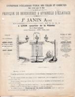 LAMPISTERIE - Fabrique De Réverbères & Appareils D'Eclairage - Jh JANIN Aîné - LYON - - Documents Historiques