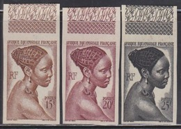 French Equatorial Africa (1946) Bacongo Woman. Set Of 3 Imperforates.  Scott Nos 182-184.  Yvert Nos 224-226. - A.E.F. (1936-1958)