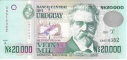 BILLETE DE URUGUAY DE 20000 PESOS DEL AÑO 1991 EN CALIDAD EBC (XF) (BANKNOTE) - Uruguay