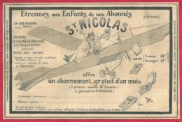 """Étrennes Aux Enfants. Saint Nicolas En Aéroplane, Avion, Distribue Le Journal """"le St Nicolas"""". 1909. - Publicités"""