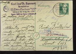 """DDR Gs-Karte Mit 10 Pf Bebel 8.10.49 (1 Tag Nach Gründung Der DDR) Abs. In Zittau-Aufgabe In Weimar Mit """"Zurück""""-Vermerk - [6] República Democrática"""