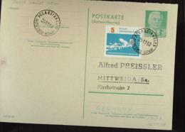 DDR: Gs-Postkarte Mit 10 Pf Pieck MiF Auf AwT OSt. Vom Polarkreis (POLARSIRKELEN) 25.11.62 Nach Mittweida Knr: P70IA Ua - [6] República Democrática