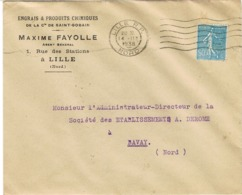ENVELOPPE  A EN-TETE ENGRAIS CHIMIQUES MAXIME FAYOLLE LILLE VIGNETTE ST GOBAIN AU VERSO - Marcophilie (Lettres)