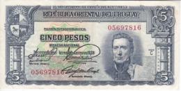 BILLETE DE URUGUAY DE 5 PESOS DEL AÑO 1939 EN CALIDAD EBC (XF)  (BANKNOTE) - Uruguay