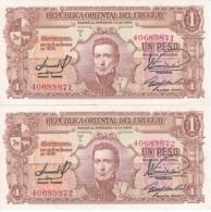 PAREJA CORRELATIVA DE URUGUAY DE 1 PESO DEL AÑO 1939 EN CALIDAD EBC (XF)  (BANKNOTE) - Uruguay