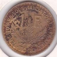 Territoire Sous Mandat De La France. Togo. 1 Franc 1924. Lec 11 - Togo