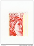 Sabine 1fr30 Rouge De Roulette YT 2063 Avec 3 Bandes De Phosphore Et Piquage Décalé . Superbe , Voir Le Scan . - Variedades: 1970-79 Nuevos