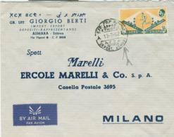 Etiopia - Ethiopia - Posta Aerea,1962,TIMBRO POSTE ASMARA - ERITREA,PER MILANO (ERCOLE MARELLI),NOTA STORICA - Eritrea