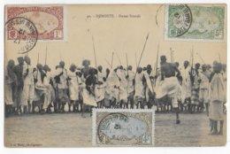 COTE DES SOMALIS - 1912 - CARTE (DANSE SOMALIS) De DJIBOUTI => LYON - Côte Française Des Somalis (1894-1967)