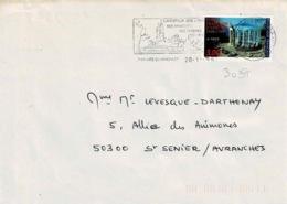 TP  3037 Seul  Sur Enveloppe De St Hilaire Du Harcouêt - Marcophilie (Lettres)