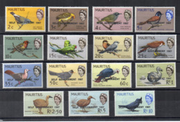 MAURITIUS - 1967 - Uccelli - 15 Valori - Nuovi - Linguellati * - (FDC16877) - Mauritius (1968-...)