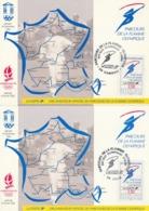 OBLIT. ILLUSTREE PARCOURS  FLAMME OLYMPIQUE JO HIVER ALBERTVILLE 92 - LILLE 31/12/91 + CAMBRAI 1/1/92 - Marcophilie (Lettres)