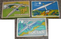 Rare Lot De 3 Anciennes Maquettes NEUVES, De Planeurs 1/72e Pologne, Gil Sep Bocian - Autres Collections