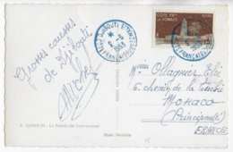 COTE DES SOMALIS - 1953 - CARTE (PALAIS DU GOUVERNEUR) De DJIBOUTI => MONACO ! - Côte Française Des Somalis (1894-1967)