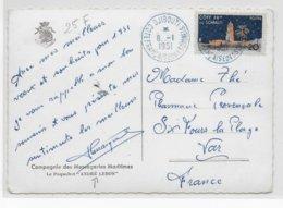 COTE DES SOMALIS - 1951 - CARTE (PAQUEBOT ANDRE LEBON DES MESSAGERIES MARITIMES) De DJIBOUTI => SIX FOURS - Côte Française Des Somalis (1894-1967)