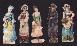 Découpis   Lot De 10    Personnages, Femmes       12.5 X 5 Cm Le Plus Grand - Découpis