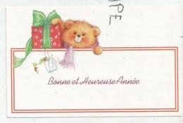 Carte De Vœux. Nounours Et Cadeau - Anno Nuovo