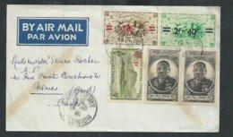 Réunion. Enveloppe De Saint Denis Pour Nîmes (Gard) Avec Série De Londres Surchargée Et Felix Eboué - Réunion (1852-1975)