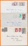 22 COTES Du NORD  Lot De 3 Lettres    Années Mélangées Pour 56690  LANDEVANT Morbihan Avec Affranchissements Composés - Marcophilie (Lettres)