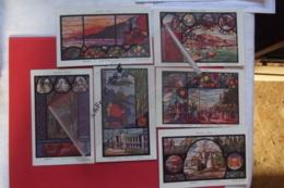 Cp Monte Carlo Monaco Interieur De La Cathedrale Tableau Vitrail Lot 6 Cartes Signé ? - Collections & Lots