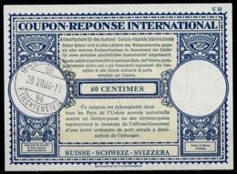 LIECHTENSTEIN / SUISSE Lo17A 60 CENTIMESInternationalReply Coupon Reponse Antwortschein IAS IRC O VADUZ 28.7.66 - Cartas