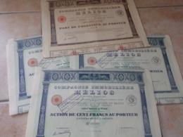 Lot De 4 Action Compagnie Immobilière Helios 1 Marron  3 Bleu - Shareholdings