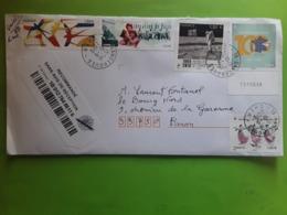 Lettre Recommandée Timbre Libération De Paris,Oiseaux EUROPA,100 Ans Cheques Postaux,Homme Sur La Lune,Costumes 2019 Tb - Marcophilie (Lettres)