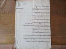 26 NOVEMBRE 1843 A LA REQUÊTE DE Mme ANGELINE HAPLENCOURT ET DE M.BLANCHART M. AGAPITE HAPLENCOURT BRASSEUR A HARGNIES S - Manuskripte