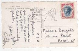 Timbre Yvert N° 424 Sur Cp , Carte , Postcard Du 15/09/1958  Pour La Francee - Monaco