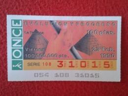SPAIN CUPÓN DE ONCE LOTTERY LOTERÍA ESPAÑA 1990 EVOLUCIÓN Y PROGRESO EVOLUTION AND PROGRESS LA PALANCA THE LEVER LEVIER - Billetes De Lotería